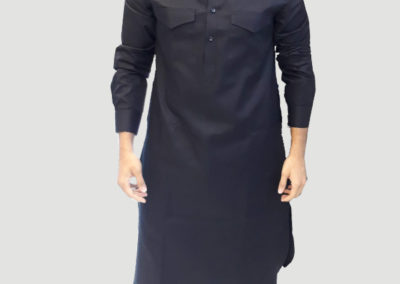 Tailors in Dubai, black Pathani, SuitsandShirts